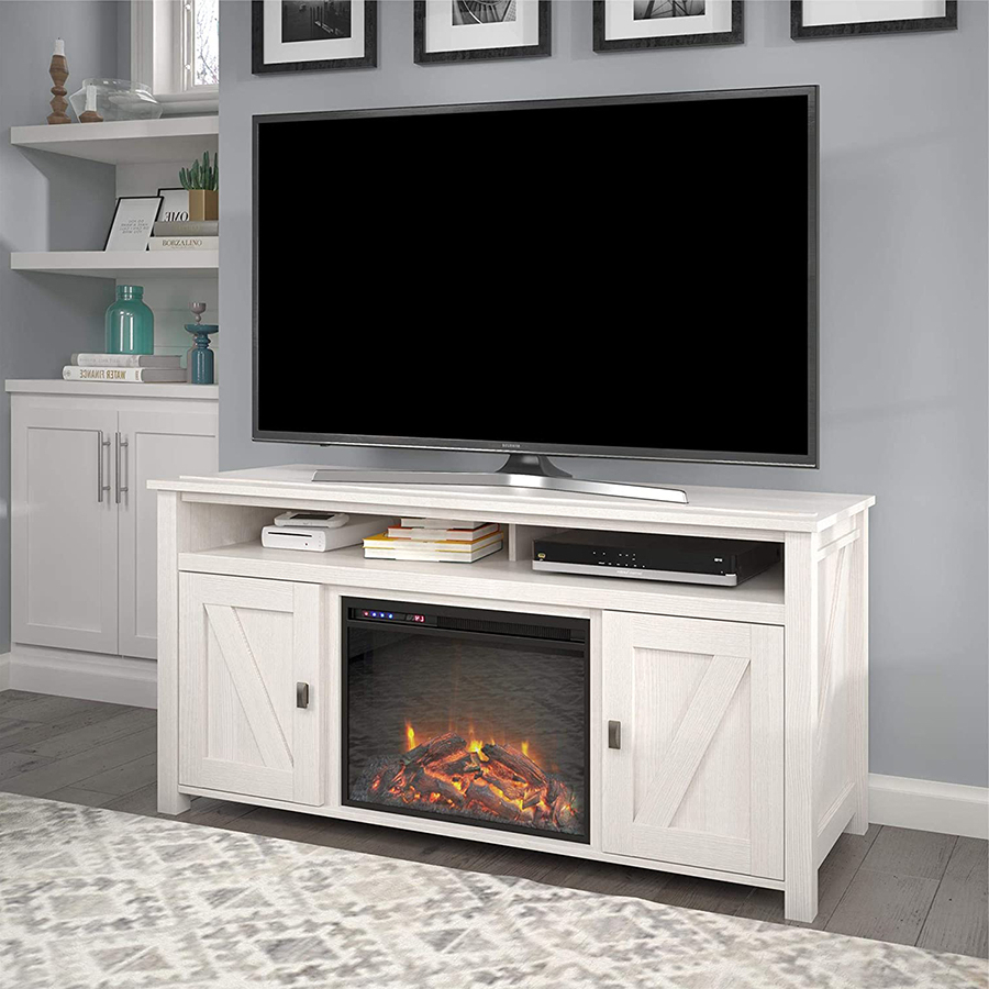 Most Current The Top 10 Best Electric Fireplace Tv Stands Of 2021 Regarding Claudia Brass Effect Wide Tv Stands (View 10 of 10)