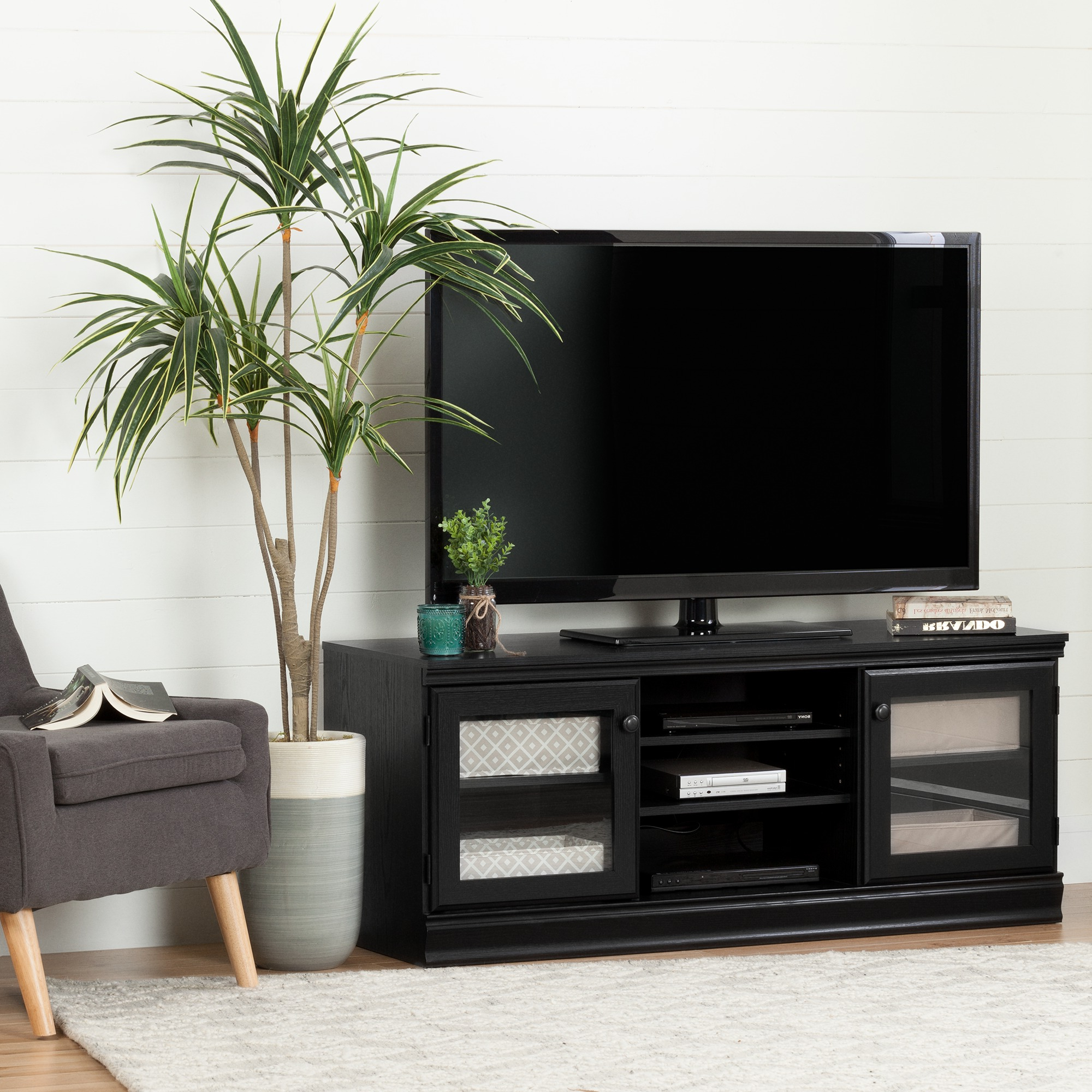 Most Current Tv Stands With Led Lights In Multiple Finishes Inside South Shore Morgan Tv Stand For Tvs Up To 75'', Multiple (View 6 of 10)