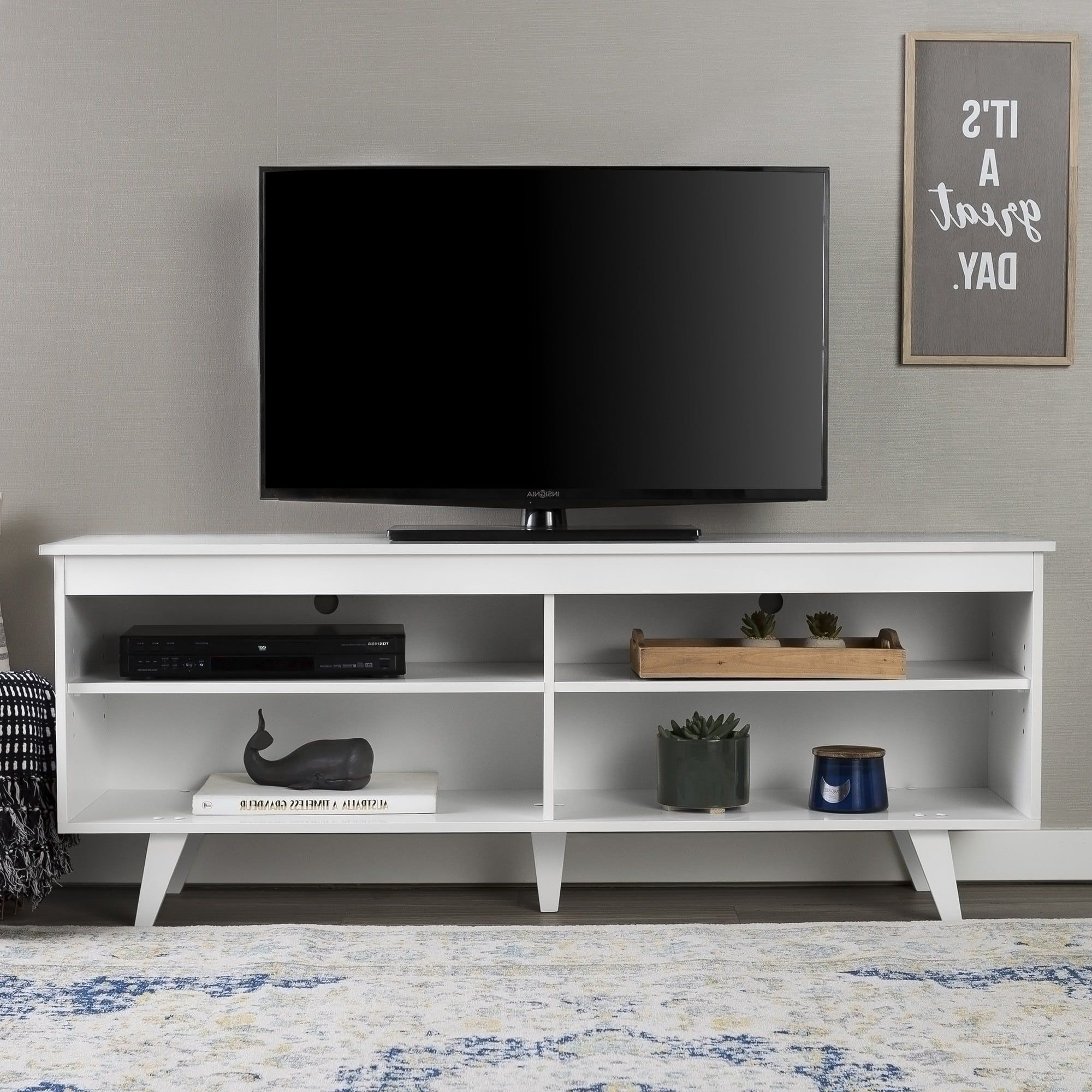"""Most Current Walker Edison Contemporary Tall Tv Stands Within Walker Edison White 58"""" Mid Century Modern Wood Tv Stand (View 2 of 10)"""