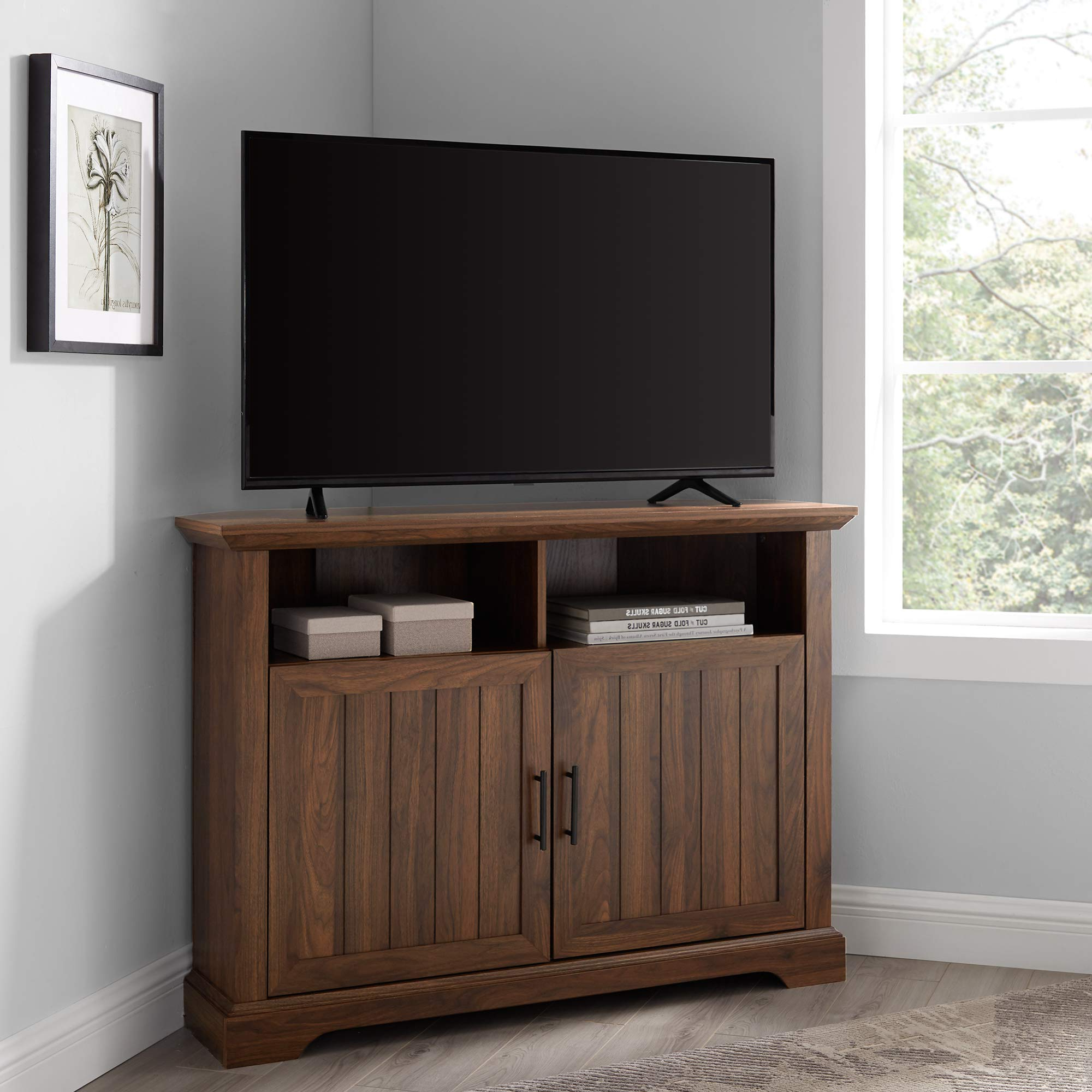 Most Current Walker Edison Furniture Company Mid Century Modern Wood Intended For Walker Edison Farmhouse Tv Stands With Storage Cabinet Doors And Shelves (View 3 of 10)