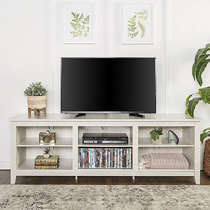 Most Current Woven Paths Open Storage Tv Stands With Multiple Finishes Regarding New 70 Inch Wide Television Stand In White Wash Finish (View 5 of 10)
