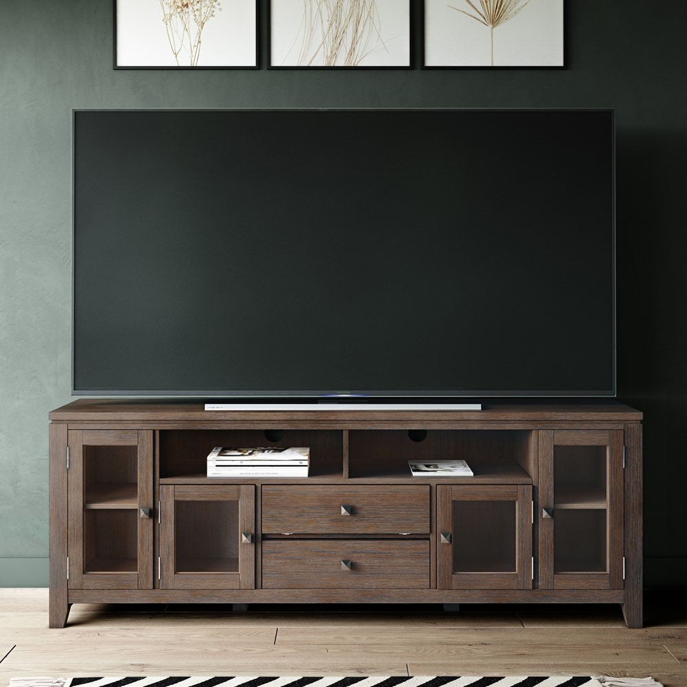 Most Current Wyndenhall Essex Solid Wood 72 Inch Wide Contemporary Tv Within Bromley Extra Wide Oak Tv Stands (View 22 of 25)