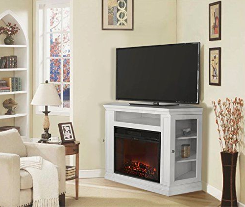 Most Current Xtremepowerus Electric Portable Fireplace With Tv Stand Intended For Compton Ivory Corner Tv Stands (View 20 of 25)