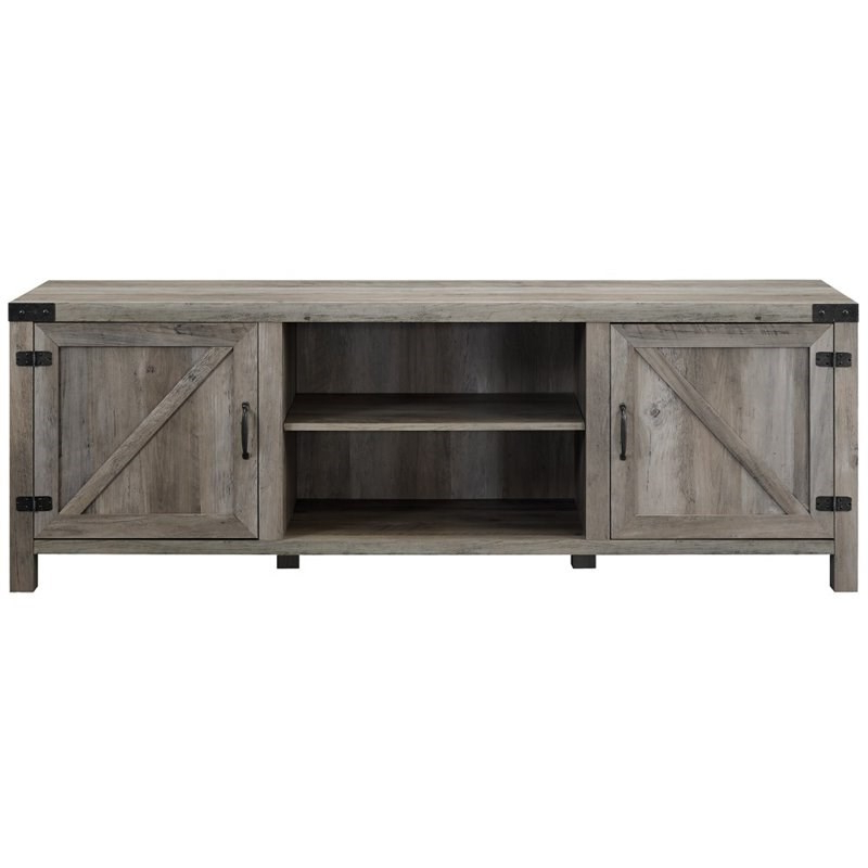 Most Popular 4 Piece Barn Door Tv Stand Coffee Table And 2 End Table Throughout Modern Farmhouse Fireplace Credenza Tv Stands Rustic Gray Finish (View 7 of 10)