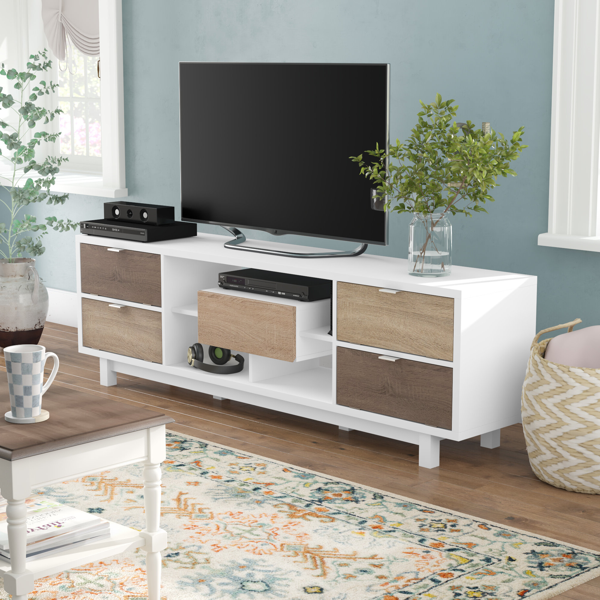 """Most Popular 75 Inch Long Tv Stand Table White Modern Living Room Low For Chrissy Tv Stands For Tvs Up To 75"""" (View 4 of 25)"""