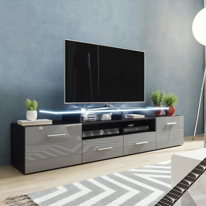 Most Popular Bmf Evora Black Tv Stand 194cm Wide Grey High Gloss Led Throughout Tv Stands Cabinet Media Console Shelves 2 Drawers With Led Light (View 8 of 10)
