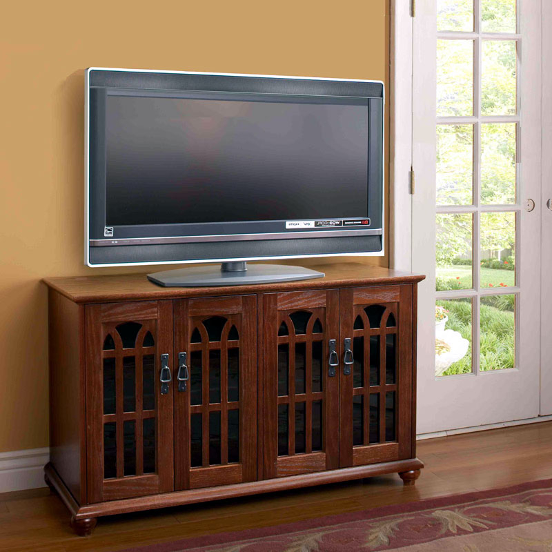 """Most Popular Caleah Tv Stands For Tvs Up To 50"""" Intended For Leslie Dame Mission Style 50 Inch Tv Stand With Glass (View 18 of 25)"""