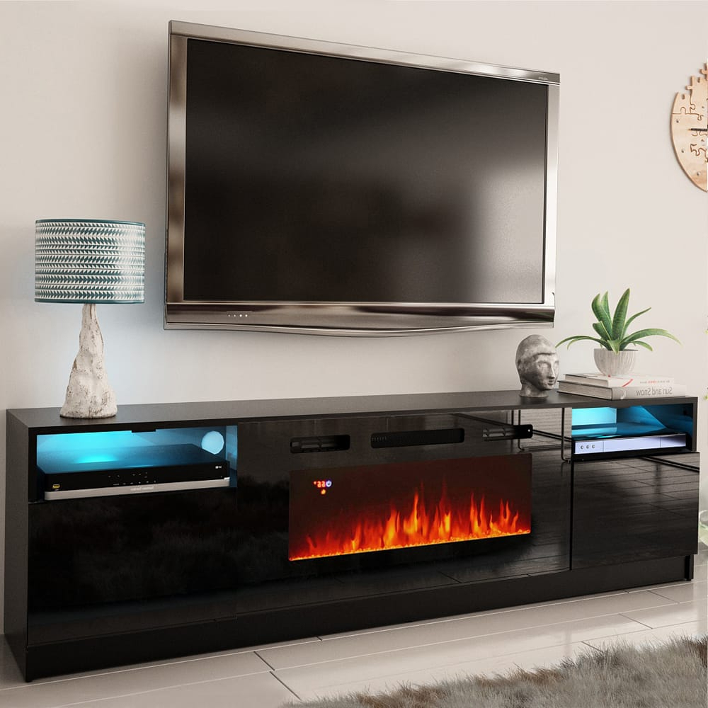 """Most Popular Chicago Tv Stands For Tvs Up To 70"""" With Fireplace Included In York 02 Black Electric Fireplace Modern 79"""" Tv Stand (View 21 of 25)"""