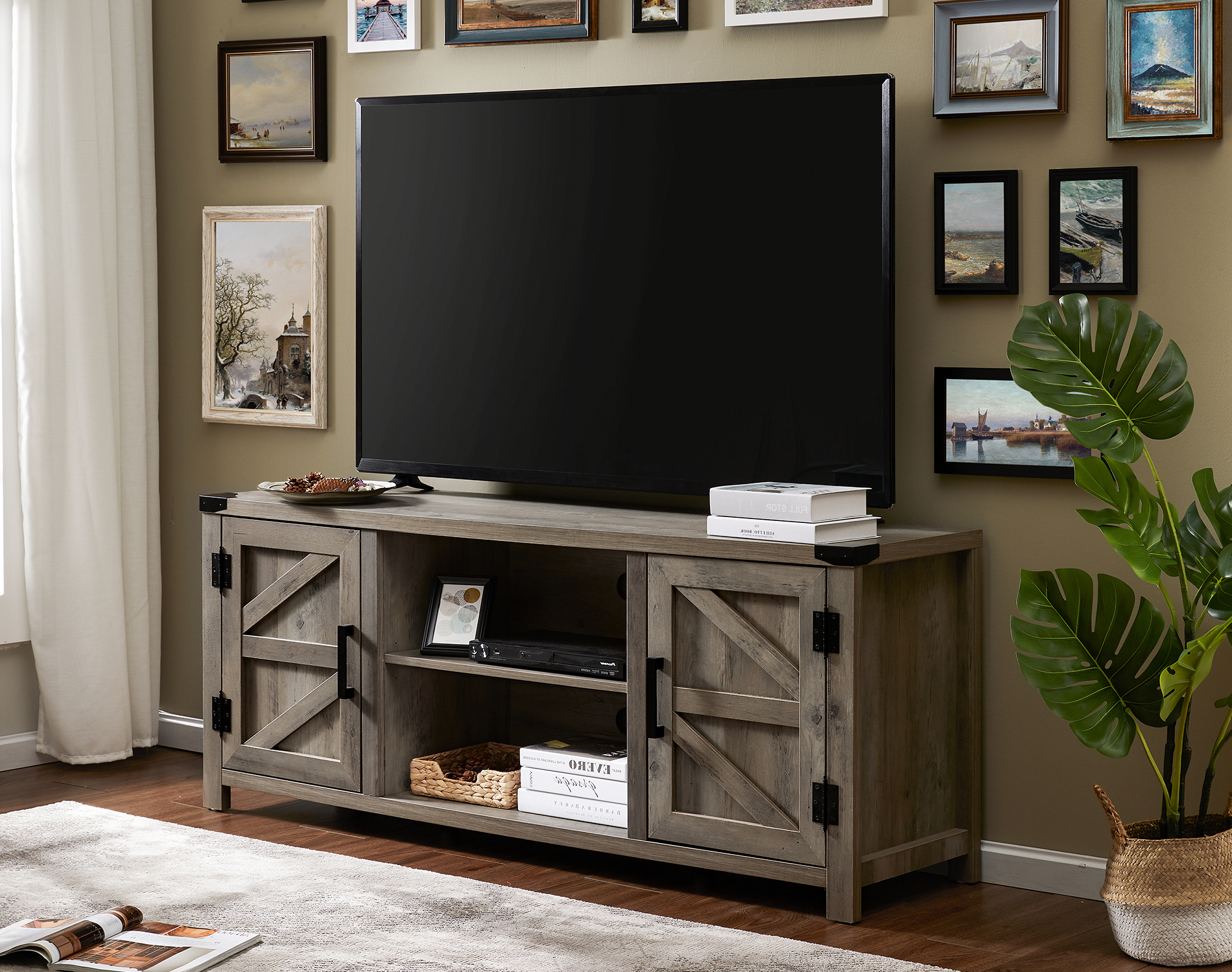 Most Popular Corona Grey Flat Screen Tv Unit Stands With Regard To Fitueyes Farmhouse Barn Door Wood Tv Stands For 70 Inch (View 3 of 10)