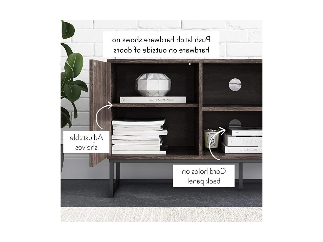Most Popular Dylan Media Console Cabinet Or Tv Stand With Doors For For Media Console Cabinet Tv Stands With Hidden Storage Herringbone Pattern Wood Metal (View 7 of 10)