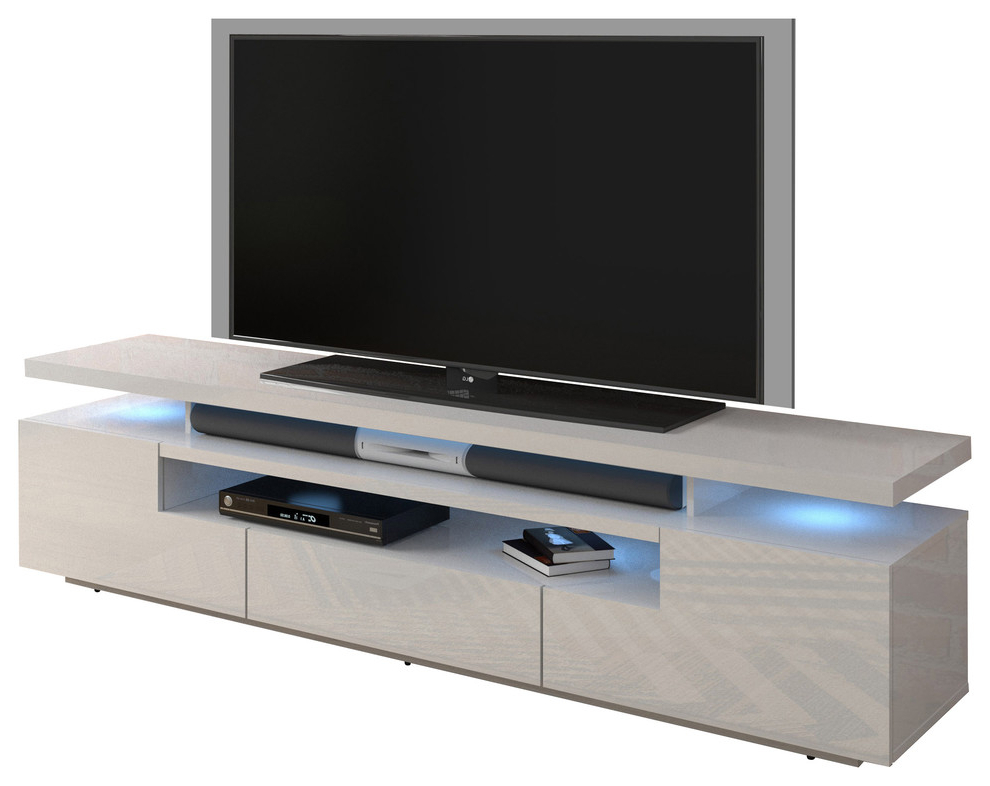"""Most Popular Eva 79"""" Modern High Gloss Tv Stand With 16 Color Leds For Milano 200 Wall Mounted Floating Led 79"""" Tv Stands (View 3 of 10)"""