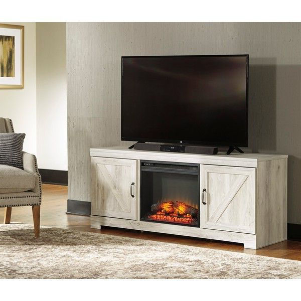 Most Popular Farmhouse Woven Paths Glass Door Tv Stands Regarding He73 Whitewash Tv Stand With Led Fireplace (View 5 of 10)