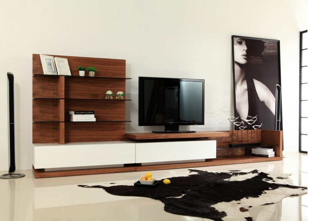Most Popular Hannu Tv Media Unit White Stands With Regard To Modrest Jefferson Modern Walnut And White High Gloss Tv (View 2 of 10)