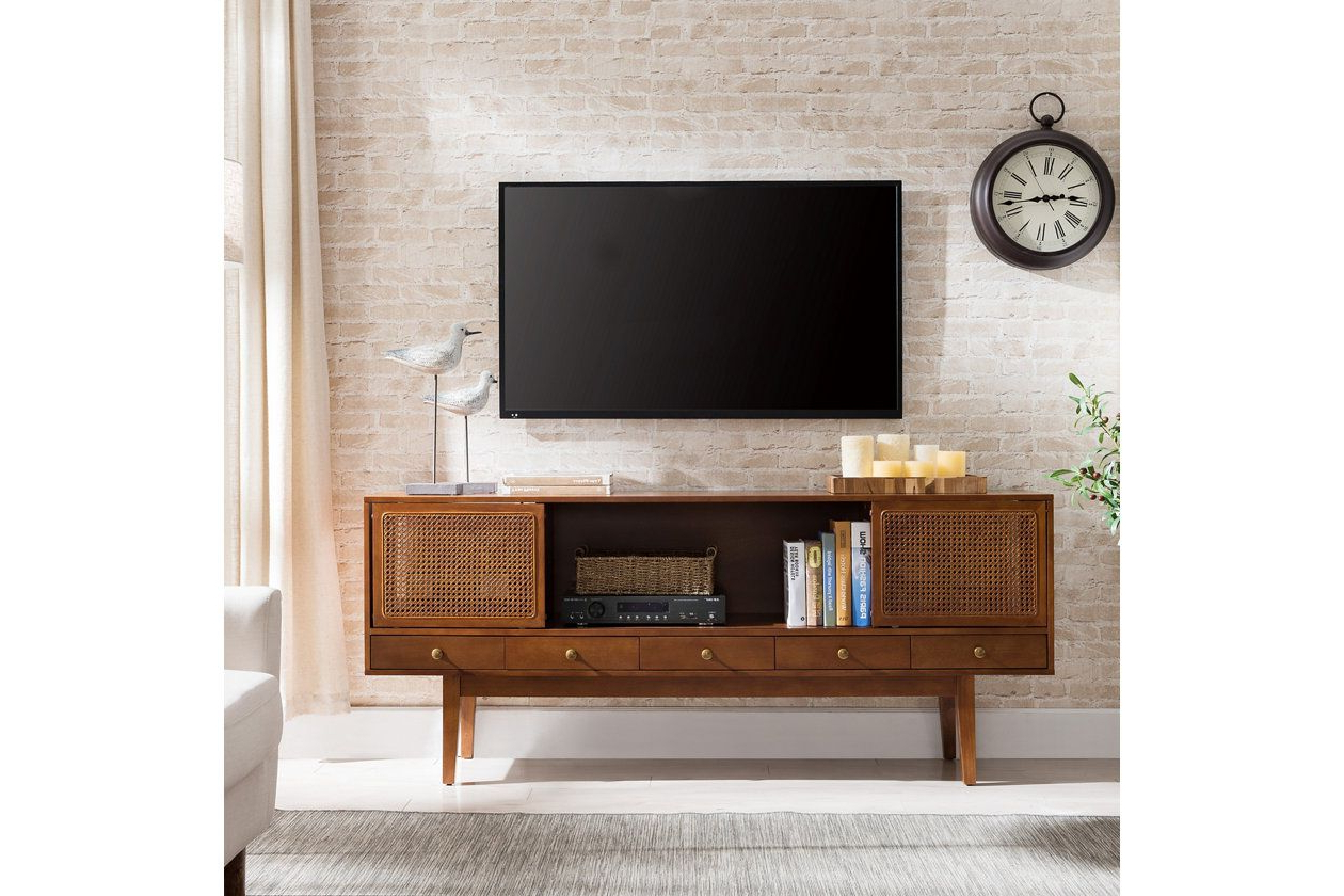"""Most Popular Southern Enterprises 70"""" Simms Midcentury Modern Media Intended For Lucy Cane Cream Corner Tv Stands (View 11 of 25)"""