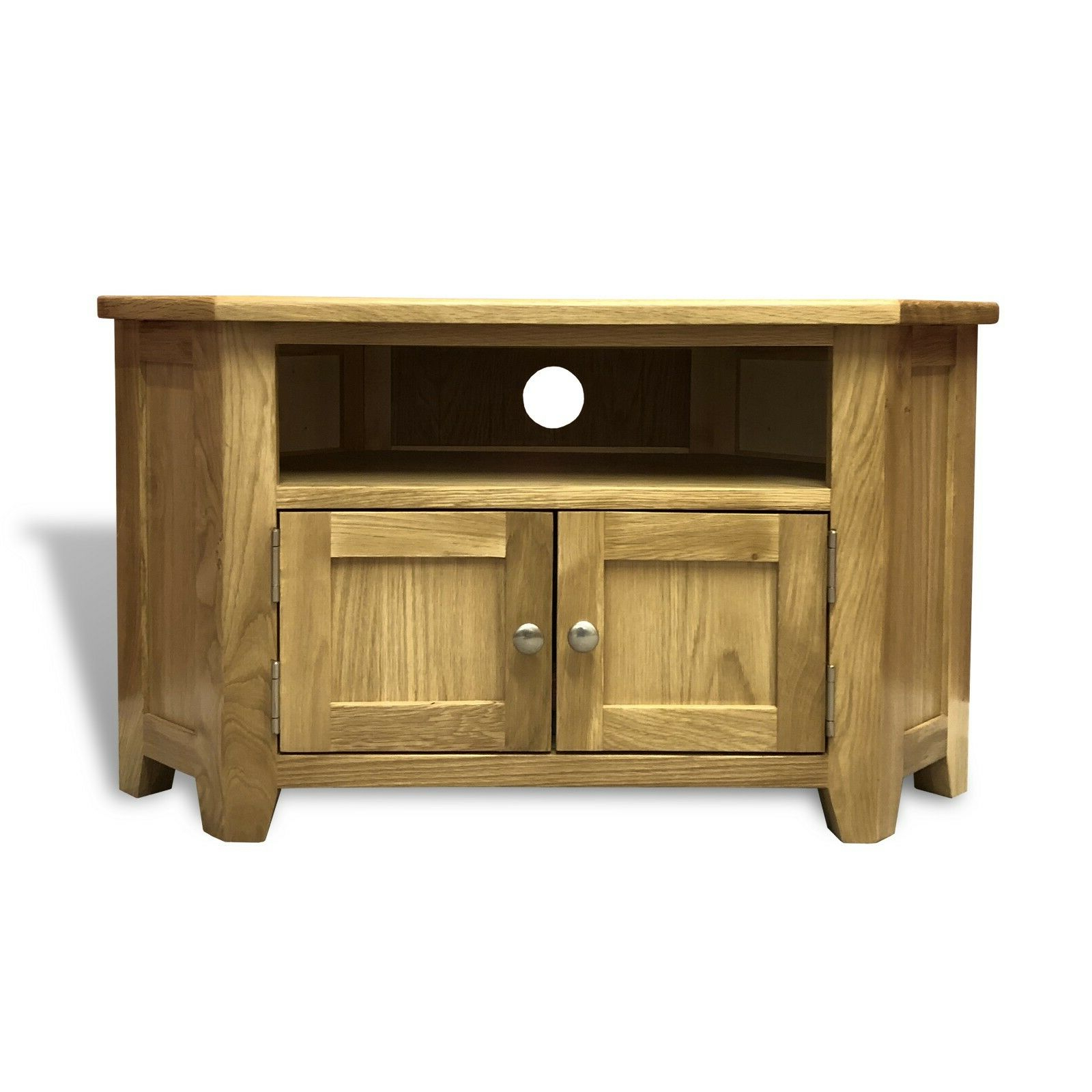 Most Popular Tribeca Oak Tv Media Stand For Oak Corner Tv Stand With Doors / Solid Wood Television (View 2 of 10)