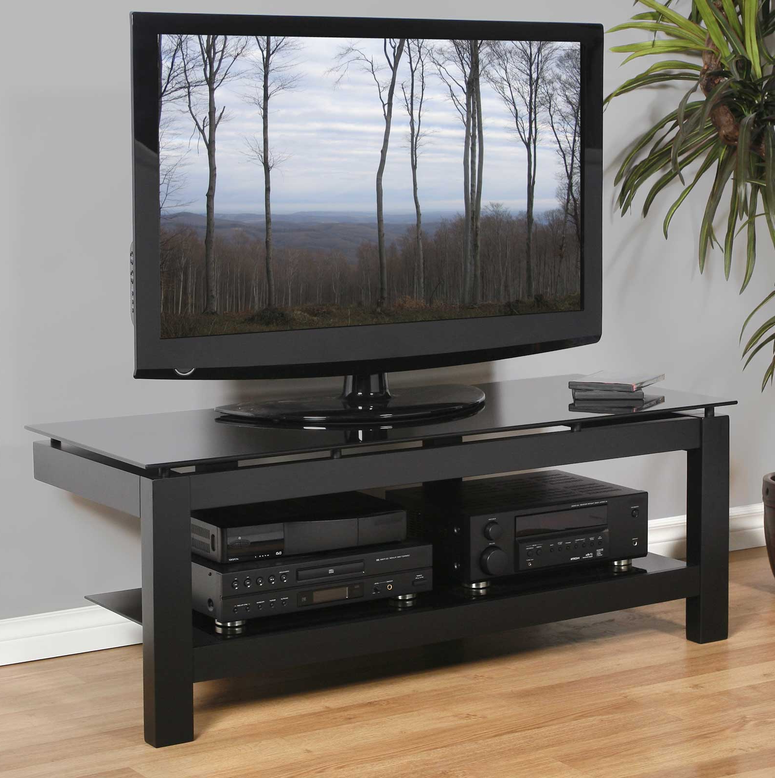 """Most Popular Tv Stands For Tvs Up To 50"""" Pertaining To Low Profile 50 Inch Tv Stand – Black In Tv Stands (View 10 of 25)"""