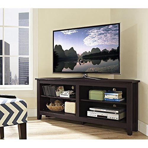 """Most Popular We Furniture 58"""" Wood Corner Tv Stand Console, Espresso W Regarding Kamari Tv Stands For Tvs Up To 58"""" (View 15 of 25)"""