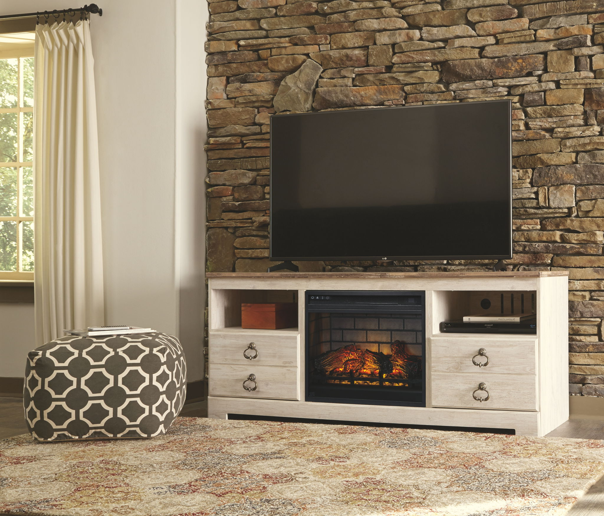 Most Popular Willowton – Whitewash – Lg Tv Stand With Fireplace Insert Within Fireplace Media Console Tv Stands With Weathered Finish (View 5 of 10)