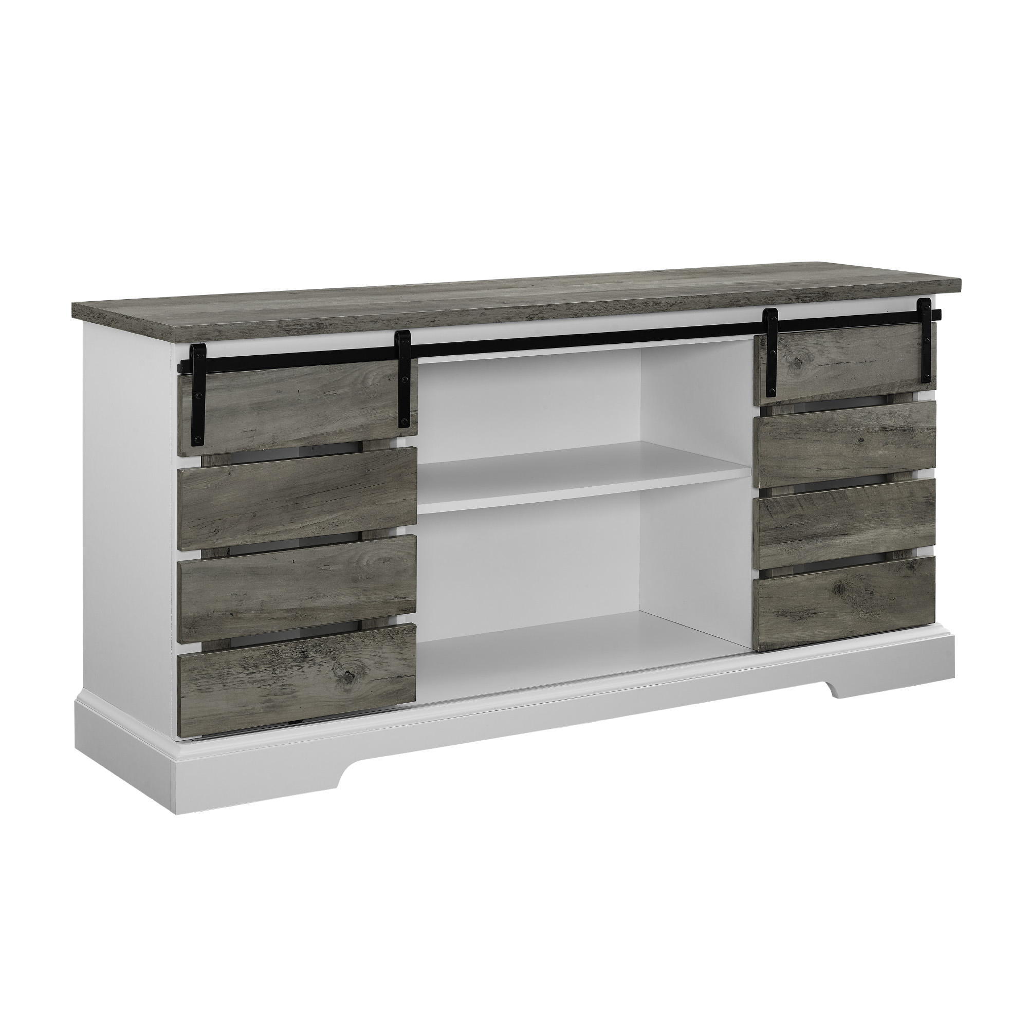 Most Popular Woven Paths Sliding Slat Door Tv Stand For Tv's Up To 64 Regarding Woven Paths Farmhouse Sliding Barn Door Tv Stands With Multiple Finishes (View 1 of 10)