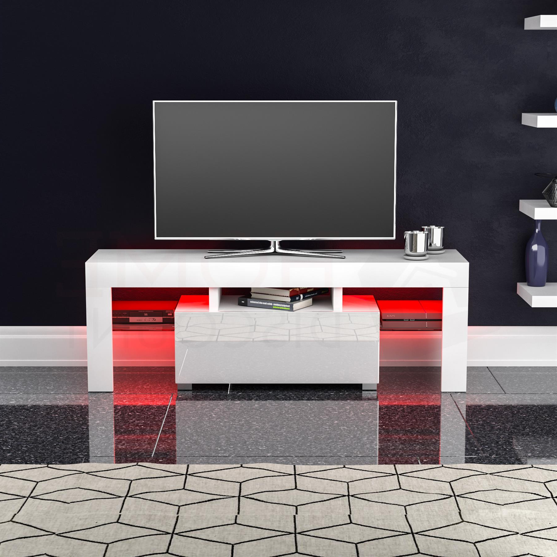 Most Popular Zimtown Modern Tv Stands High Gloss Media Console Cabinet With Led Shelf And Drawers With Luna Led Tv Stand Cabinet Unit 1 Drawer Modern (View 10 of 10)