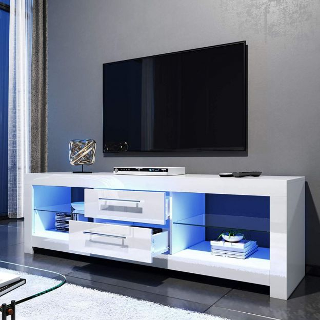 Most Recent 57'' Led Tv Stands Cabinet Within Elegant 1600mm Gloss White Modern Multi Colour Led Tv Unit (View 7 of 10)