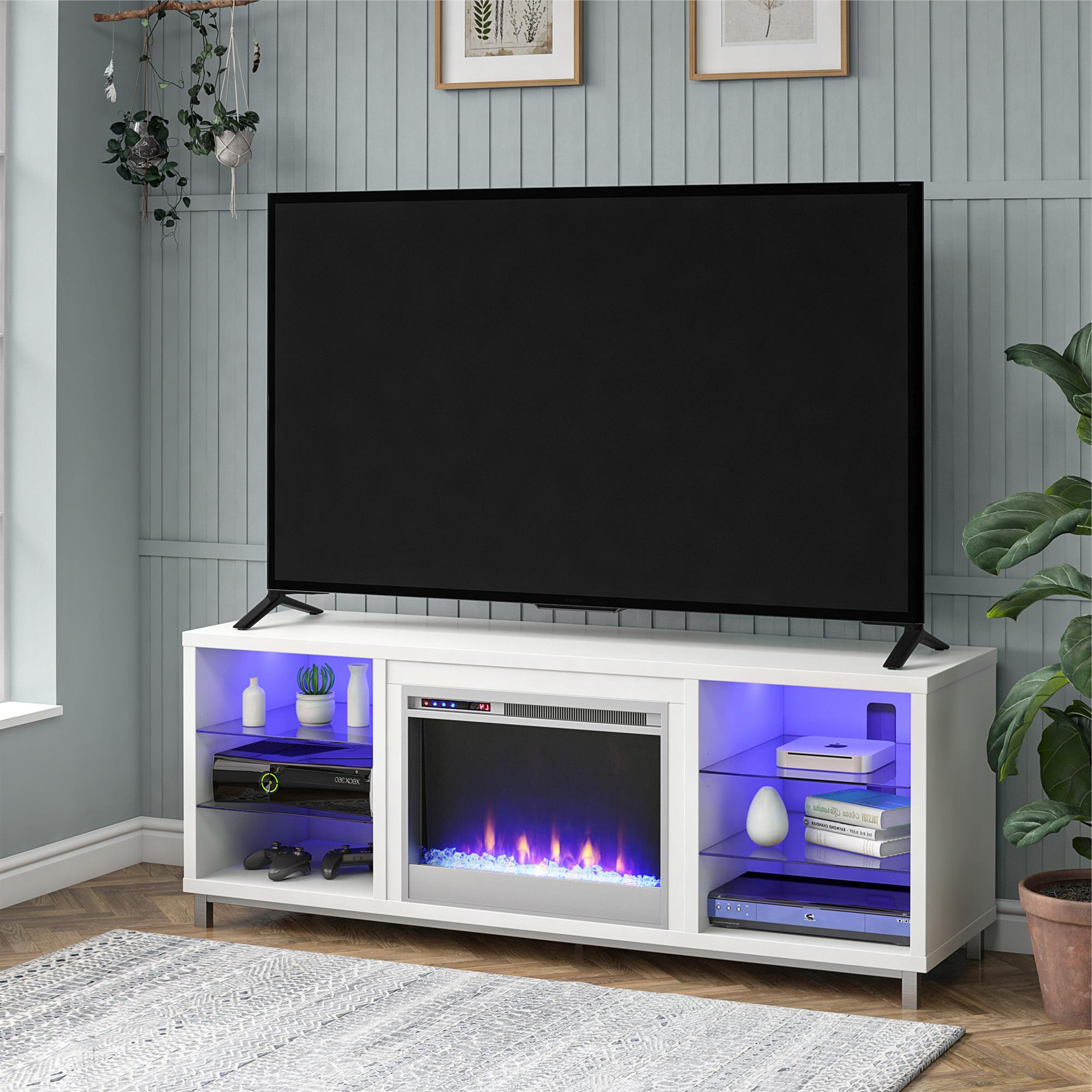 Most Recent Anya Wide Tv Stands Intended For Ameriwood Home Lumina Fireplace Tv Stand For Tvs Up To  (View 8 of 10)