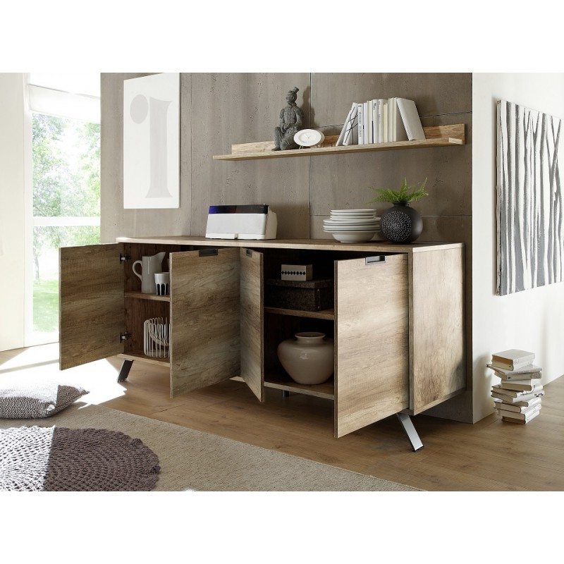 Most Recent Canyon Oak Tv Stands Within Parma Retro Canyon Oak 4 Door Sideboard – Sideboards ( (View 5 of 10)