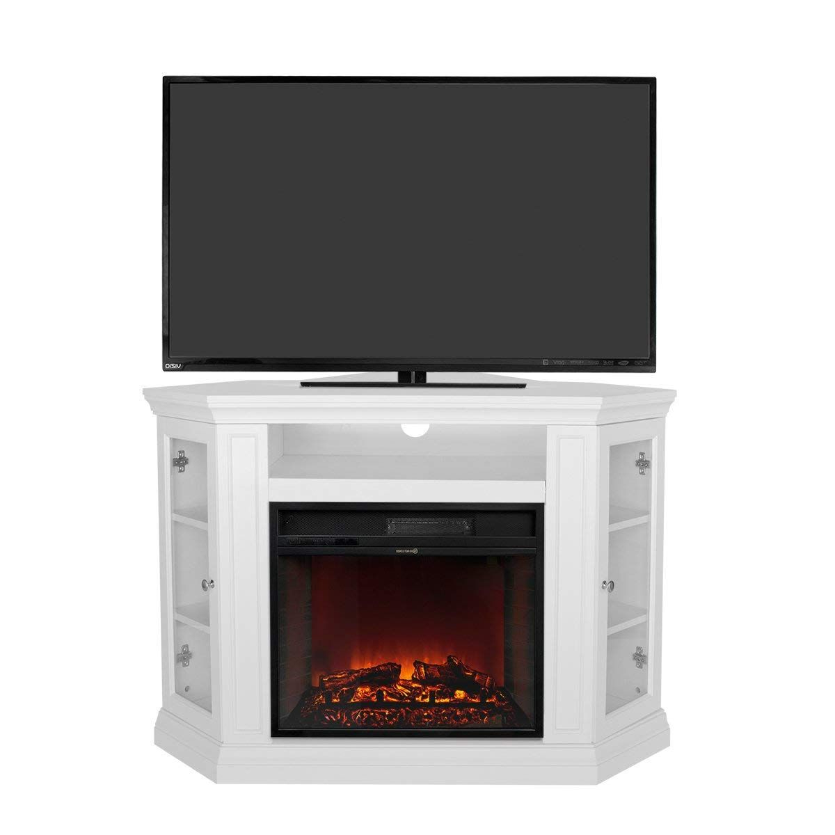 Most Recent Compton Ivory Corner Tv Stands Regarding Xtremepowerus Electric Portable Fireplace With Tv Stand (View 25 of 25)