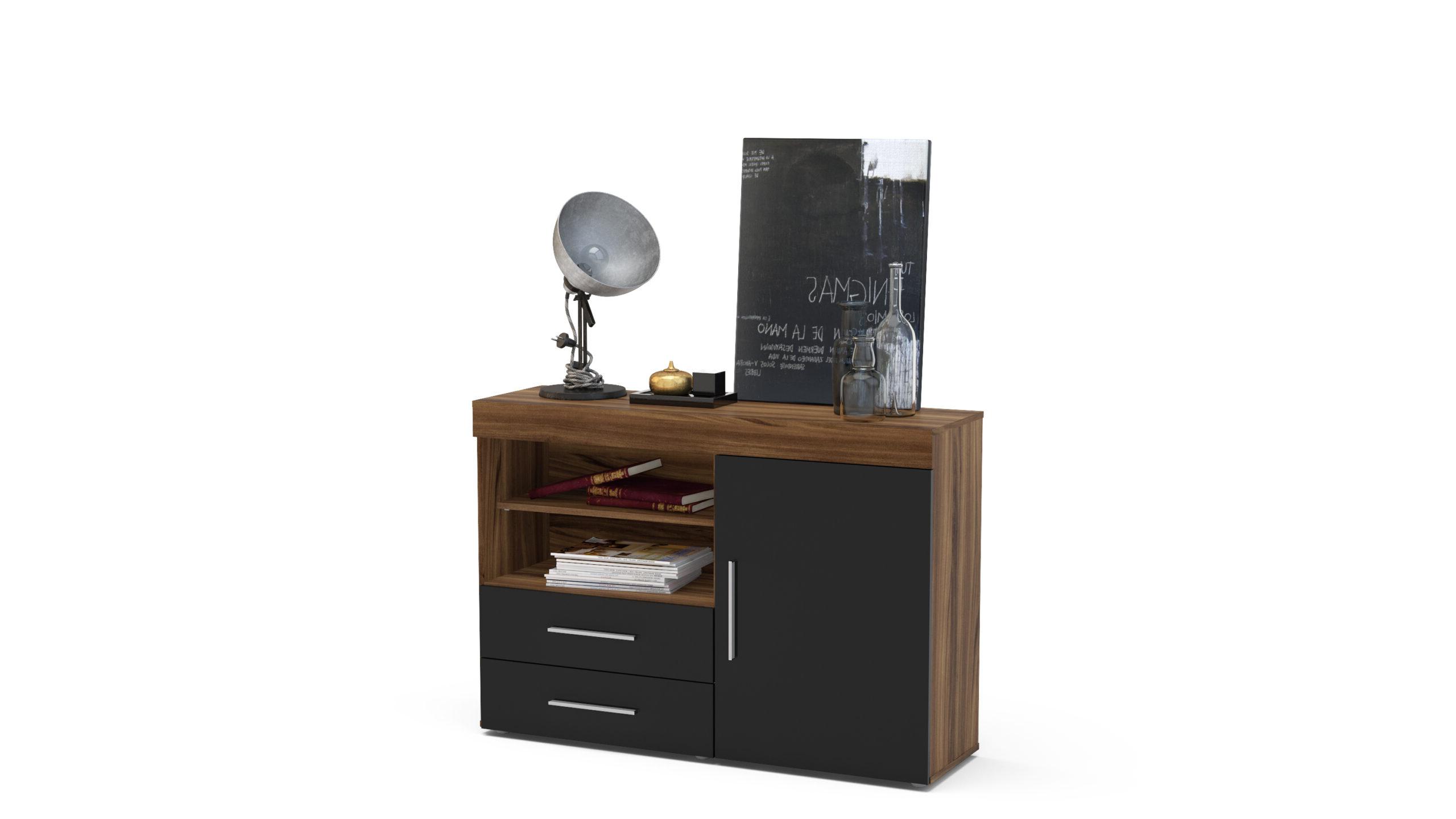 Most Recent Edgeware 1 Door 2 Drawer Sideboard Walnut & Black – Niture Uk Pertaining To Edgeware Tv Stands (View 6 of 25)