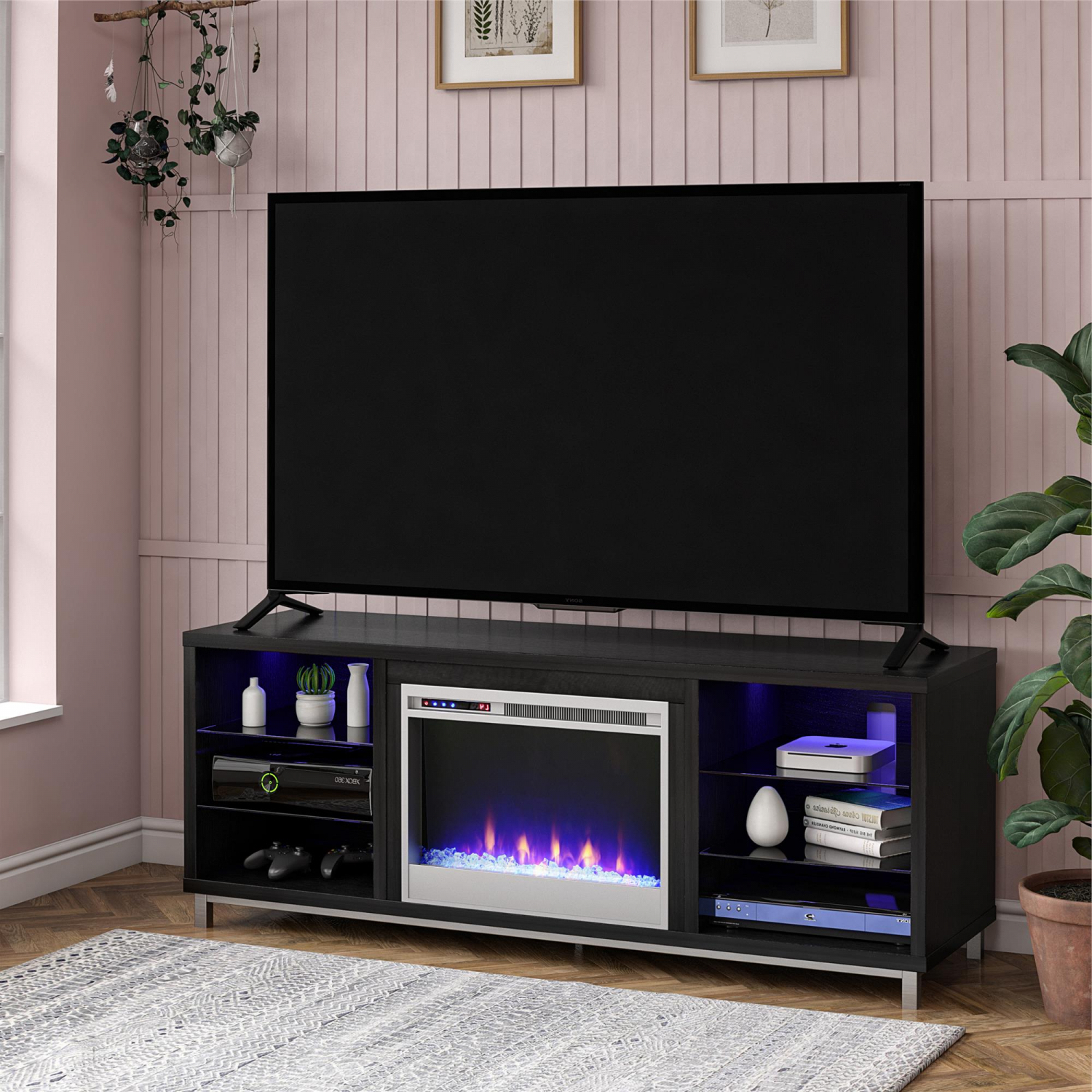 Most Recent Electric Lumina Fireplace Tv Stand For Tvs Up To 70 Wide Regarding Carbon Wide Tv Stands (View 4 of 10)