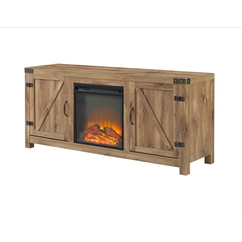 Most Recent Farmhouse Fireplace Tv Stand With Coffee Table And 2 End Intended For Modern Farmhouse Fireplace Credenza Tv Stands Rustic Gray Finish (View 8 of 10)