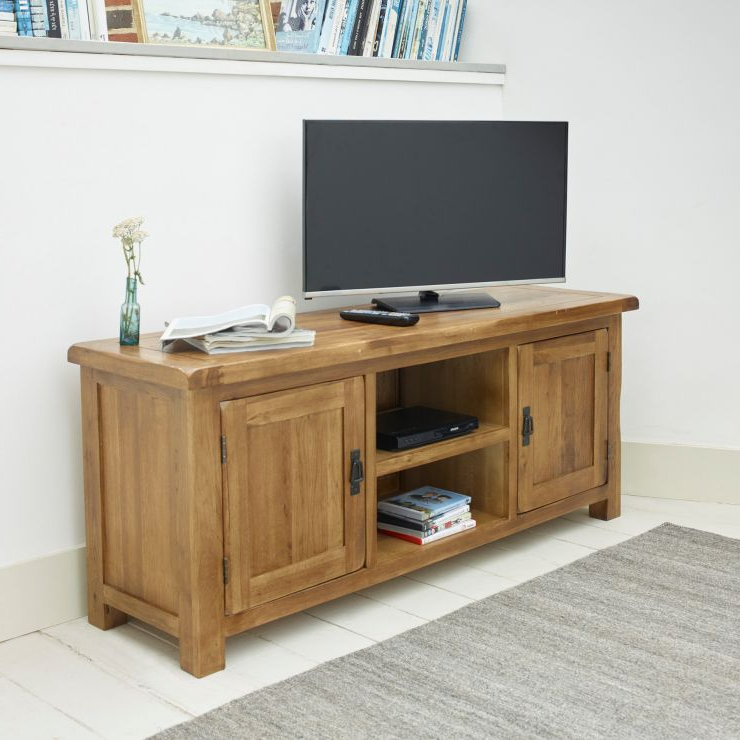 Most Recent Kemble For Tvs Up To 56 With Regard To Original Rustic Wide Tv Cabinet In Solid Oak (View 10 of 25)