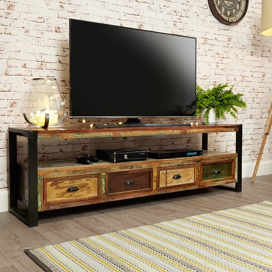 Most Recent London Urban Chic Wooden Large Tv Stand With 4 Drawers Pertaining To Carbon Extra Wide Tv Unit Stands (View 10 of 10)