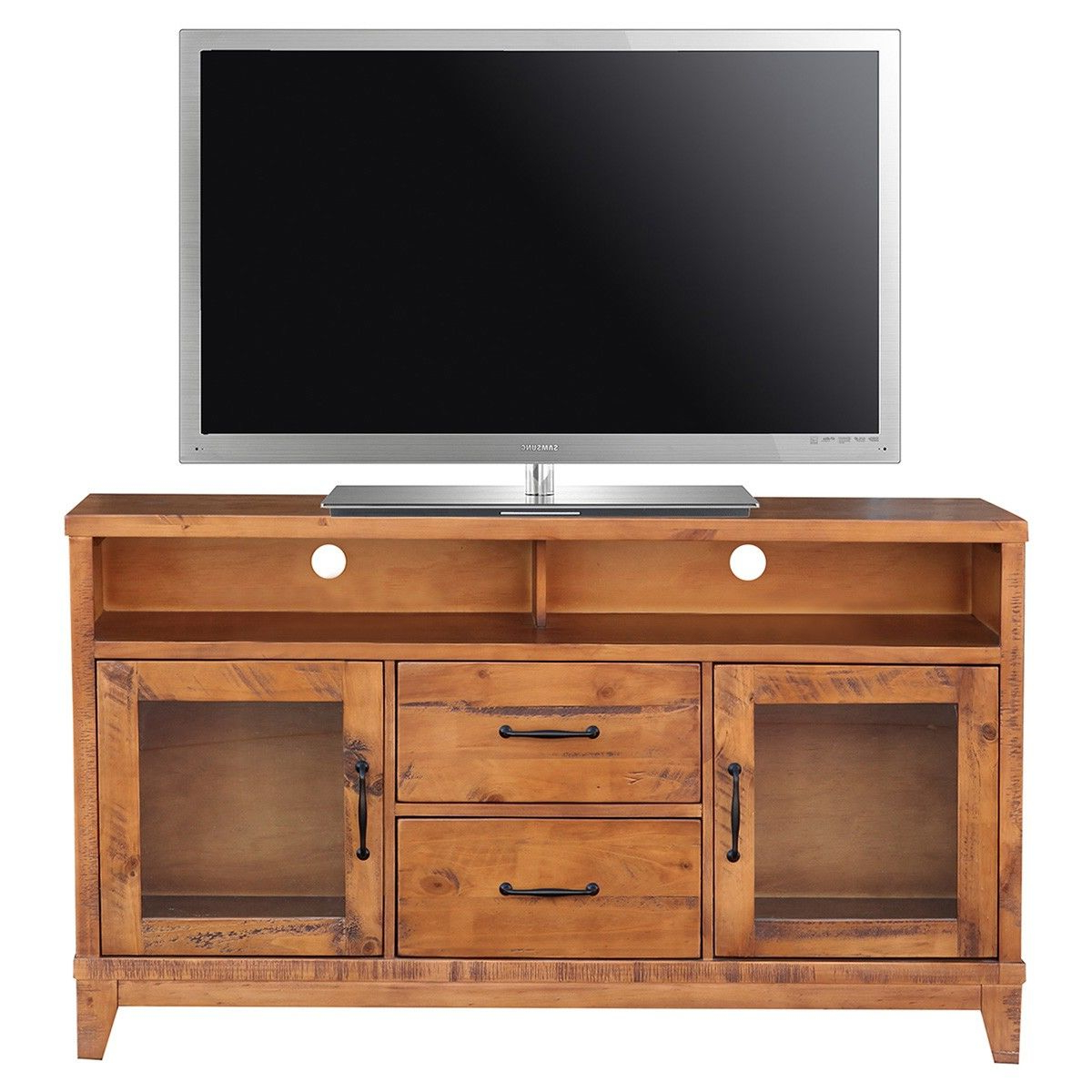 Most Recent Manhattan 2 Drawer Media Tv Stands Pertaining To Belfort Pine Timber 2 Door 2 Drawer High Tv Stand, 140cm (View 7 of 25)