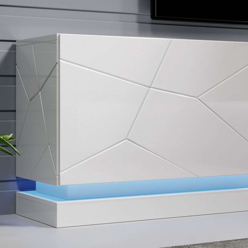Most Recent Milano White Tv Stands With Led Lights Throughout Bmf Qiu Tv Stand 200cm Wide White High Gloss Led Lights (View 18 of 25)