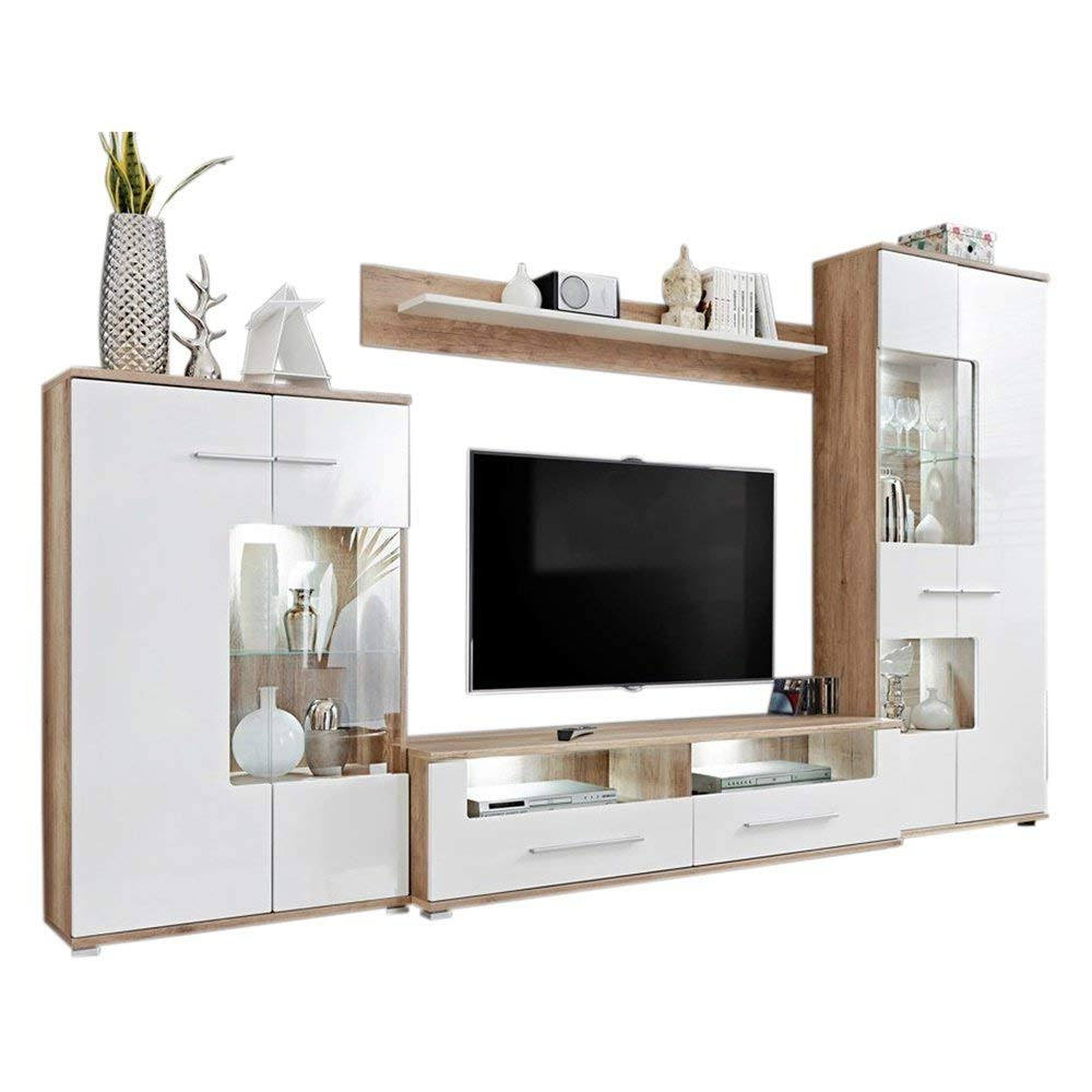 Most Recent Modern 2 Entertainment Center Wall Unit Tv Stand With Led Inside Milano White Tv Stands With Led Lights (View 6 of 25)