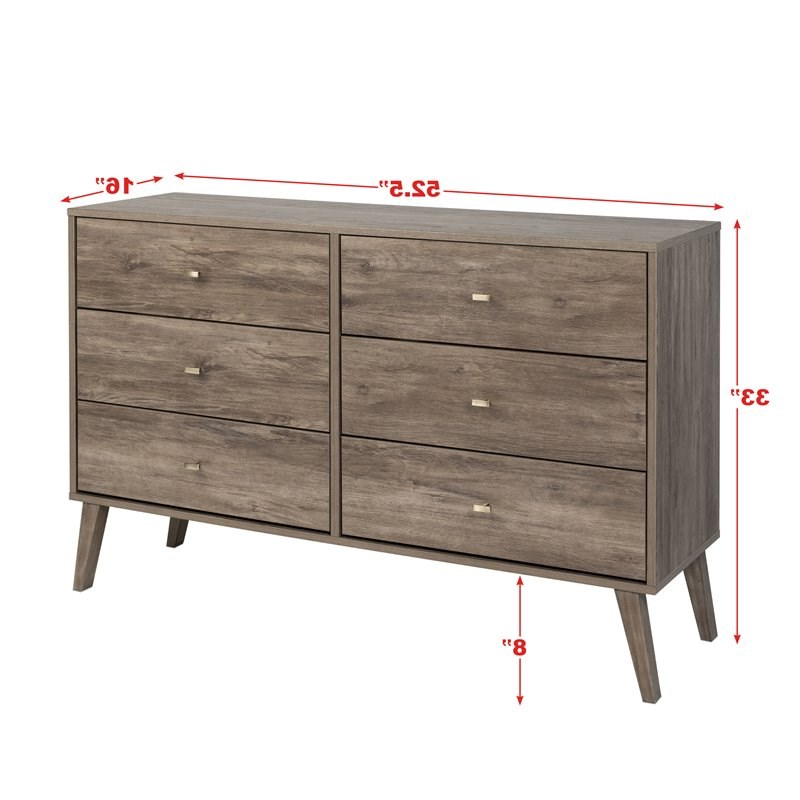 """Most Recent Prepac Milo Mid Century Modern 6 Drawer Double Dresser In Inside Prepac Milo Mid Century Modern 56"""" Tv Console Stands (View 7 of 10)"""