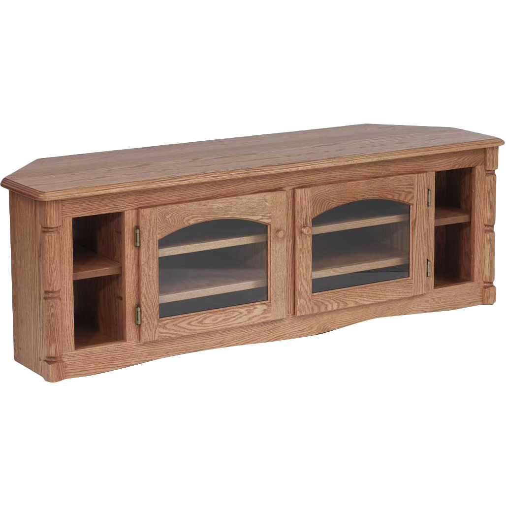 """Most Recent Solid Oak Country Style Corner Tv Stand – 60"""" – The Oak With Hex Corner Tv Stands (View 17 of 25)"""