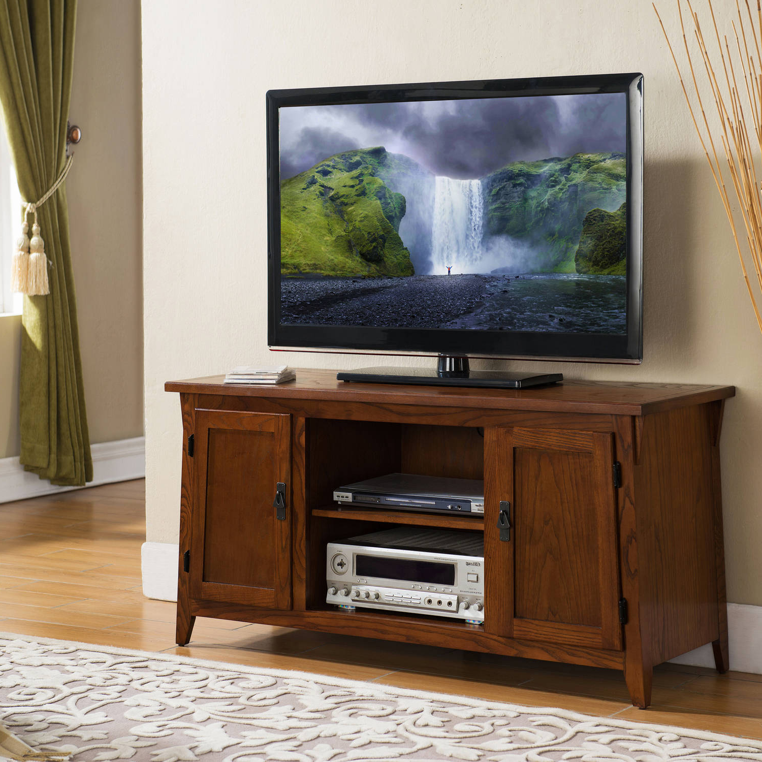 """Most Recent Spellman Tv Stands For Tvs Up To 55"""" Within Leick Home 2 Door 50"""" Tv Stand W/open Component Bay For Tv (View 24 of 25)"""