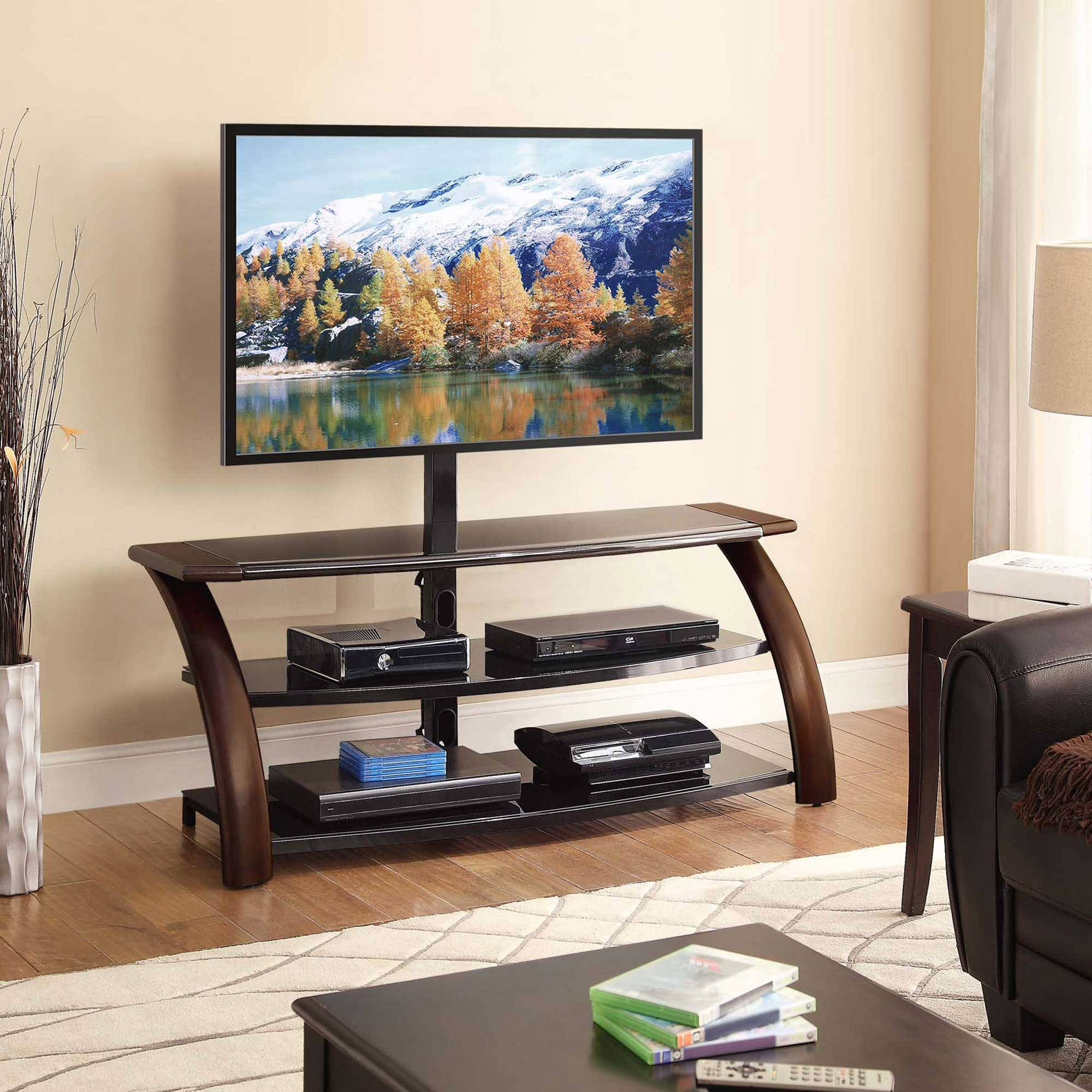 Most Recent Tv Stands With Led Lights In Multiple Finishes With Whalen Payton 3 In 1 Flat Panel Tv Stand For Tvs Up To  (View 1 of 10)