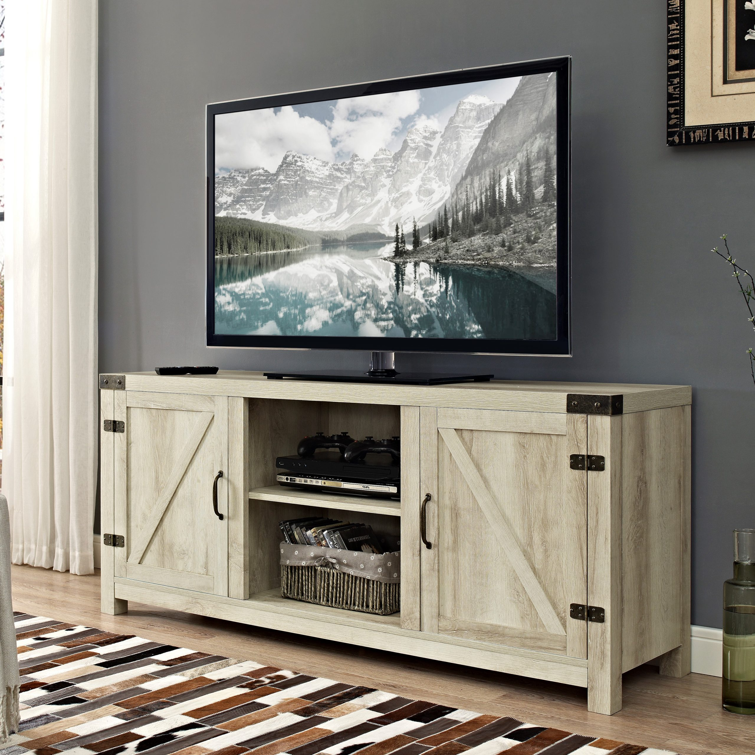 """Most Recent Woven Paths Modern Farmhouse Barn Door Tv Stand For Tvs Up Inside Betton Tv Stands For Tvs Up To 65"""" (View 4 of 25)"""