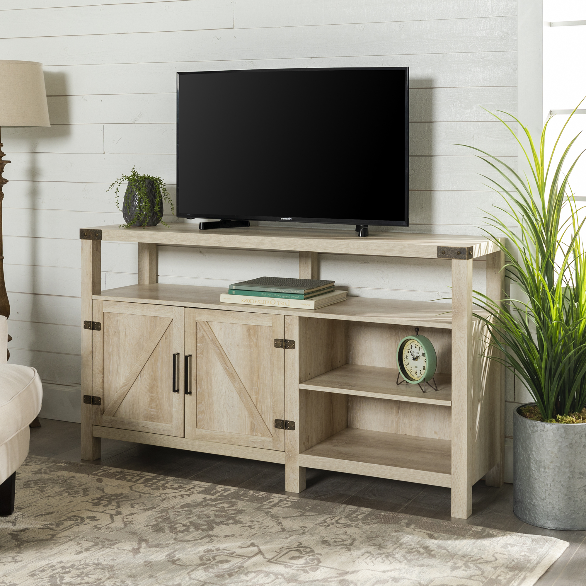 Most Recent Woven Paths Modern Farmhouse Oak Tv Stand For Tvs Up To 65 Intended For Woven Paths Franklin Grooved Two Door Tv Stands (View 2 of 10)
