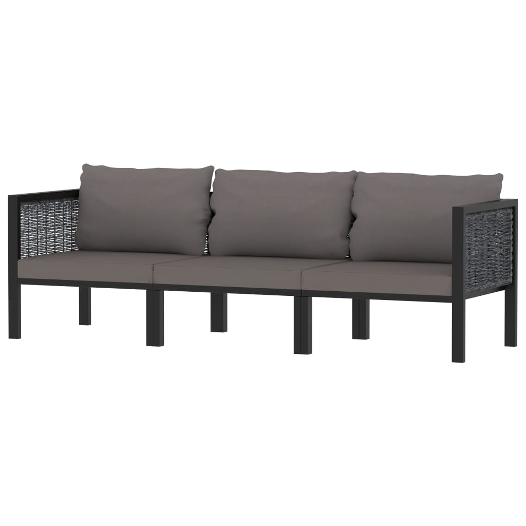 Most Recently Released 3 Seater Sofa With Cushions Anthracite Poly Rattan Regarding Lucy Cane Grey Corner Tv Stands (View 1 of 10)