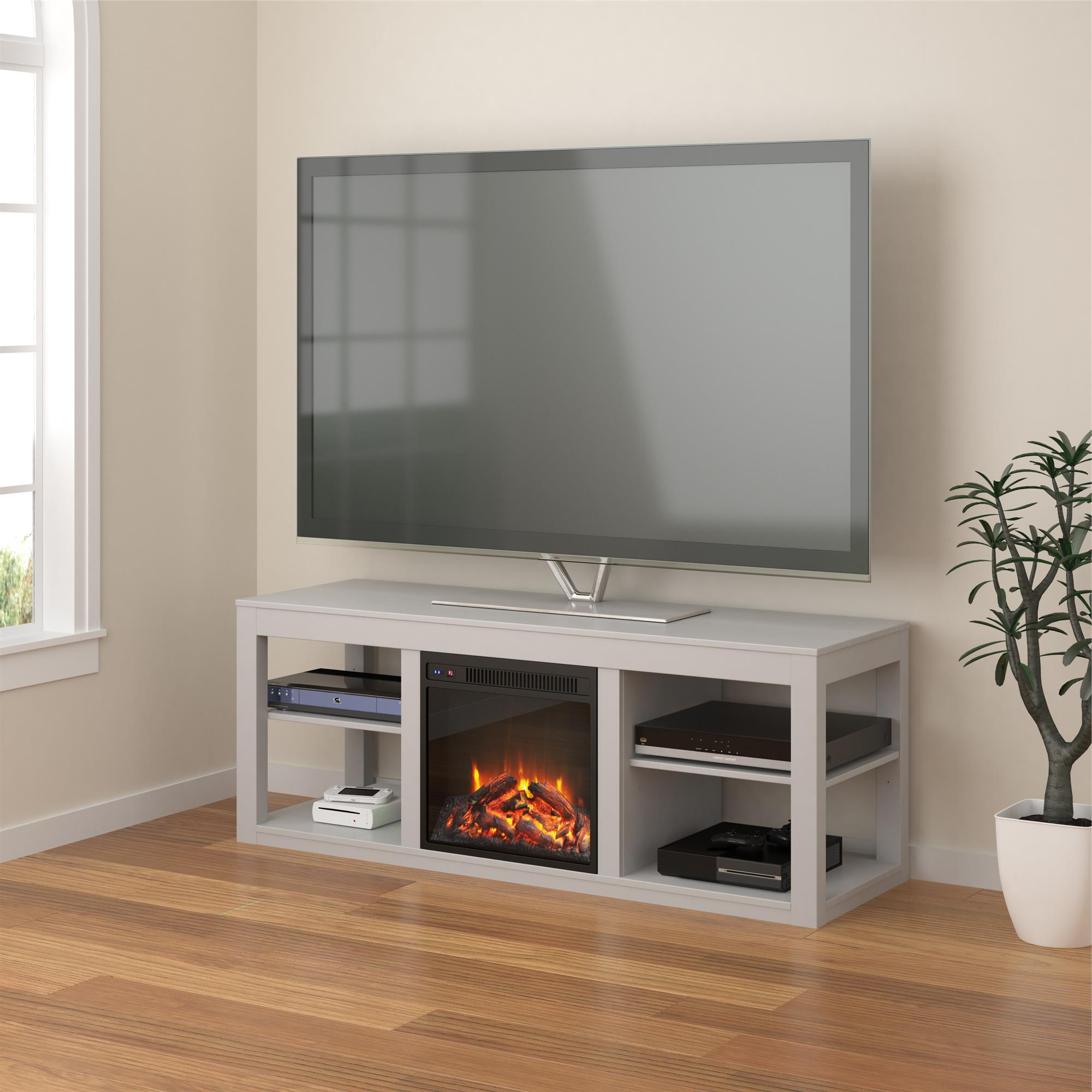 Most Recently Released Ameriwood Home Parsons Electric Fireplace Tv Stand For Tvs In Penelope Dove Grey Tv Stands (View 4 of 10)