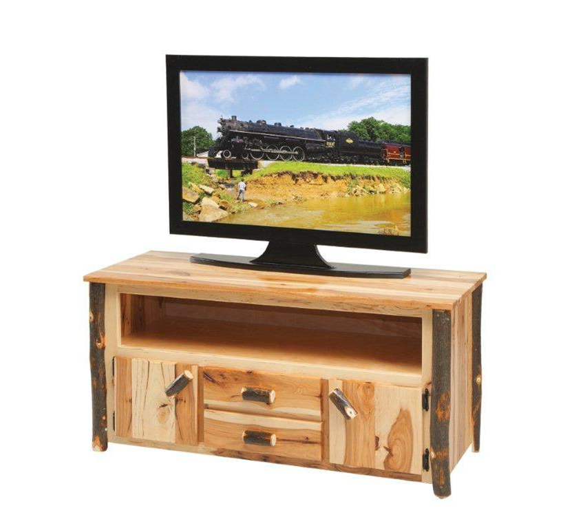 Most Recently Released Amish Rustic Cabin Hickory Tv Stand Throughout Lucy Cane Cream Corner Tv Stands (View 2 of 25)