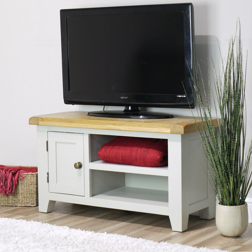 Most Recently Released Arklow Painted Oak Small Tv Stand / 90cm Grey Solid Tv Within Manhattan Compact Tv Unit Stands (View 7 of 10)