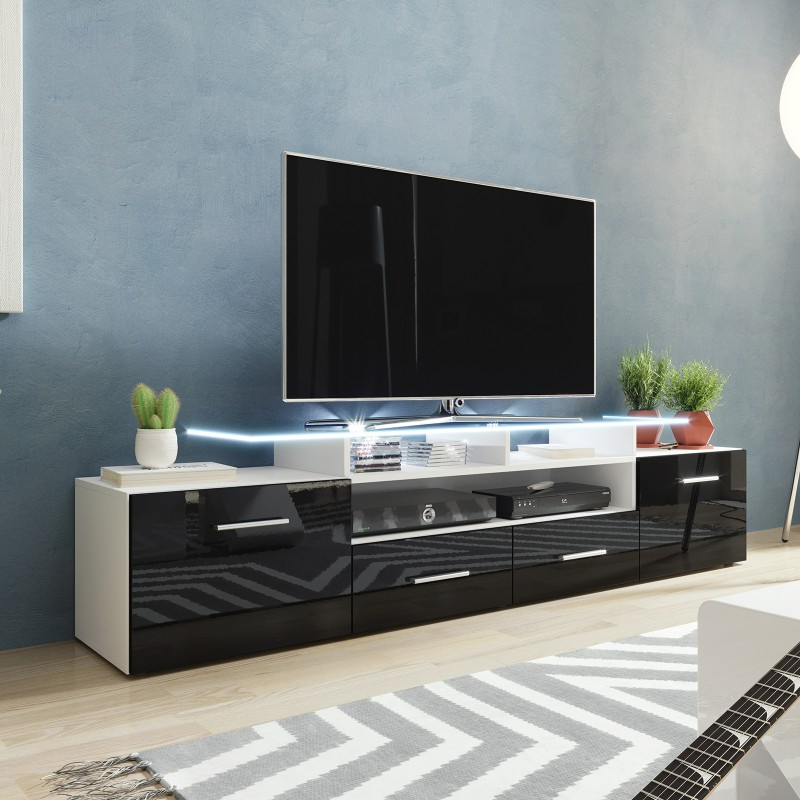 Most Recently Released Bromley White Wide Tv Stands Regarding Bmf Evora White Tv Stand 194cm Wide Black High Gloss Led (View 1 of 10)