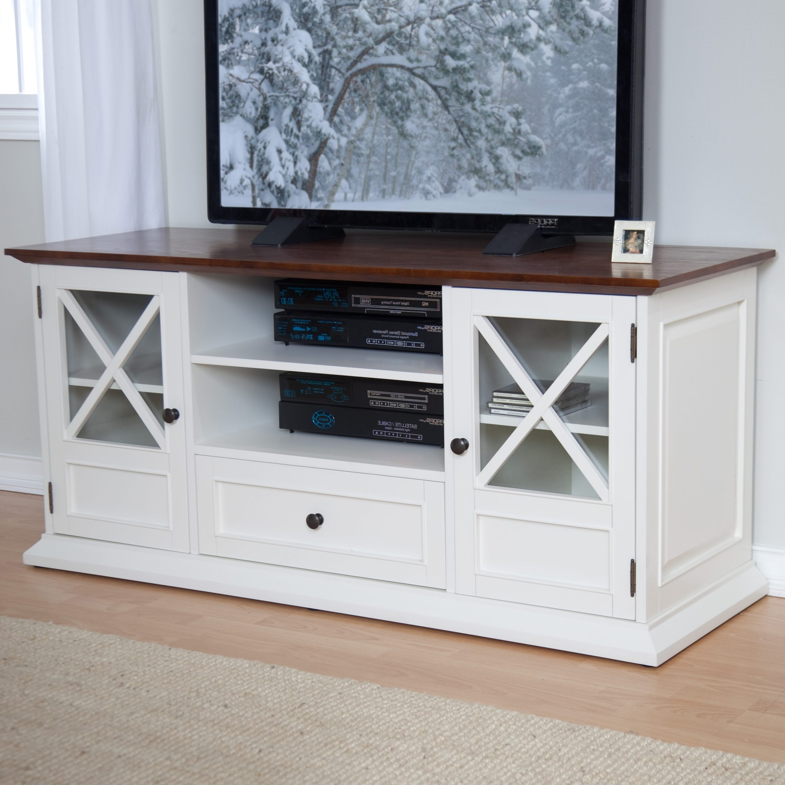 Most Recently Released Bromley White Wide Tv Stands With Belham Living Hampton 55 Inch Tv Stand – White/oak At (View 7 of 10)