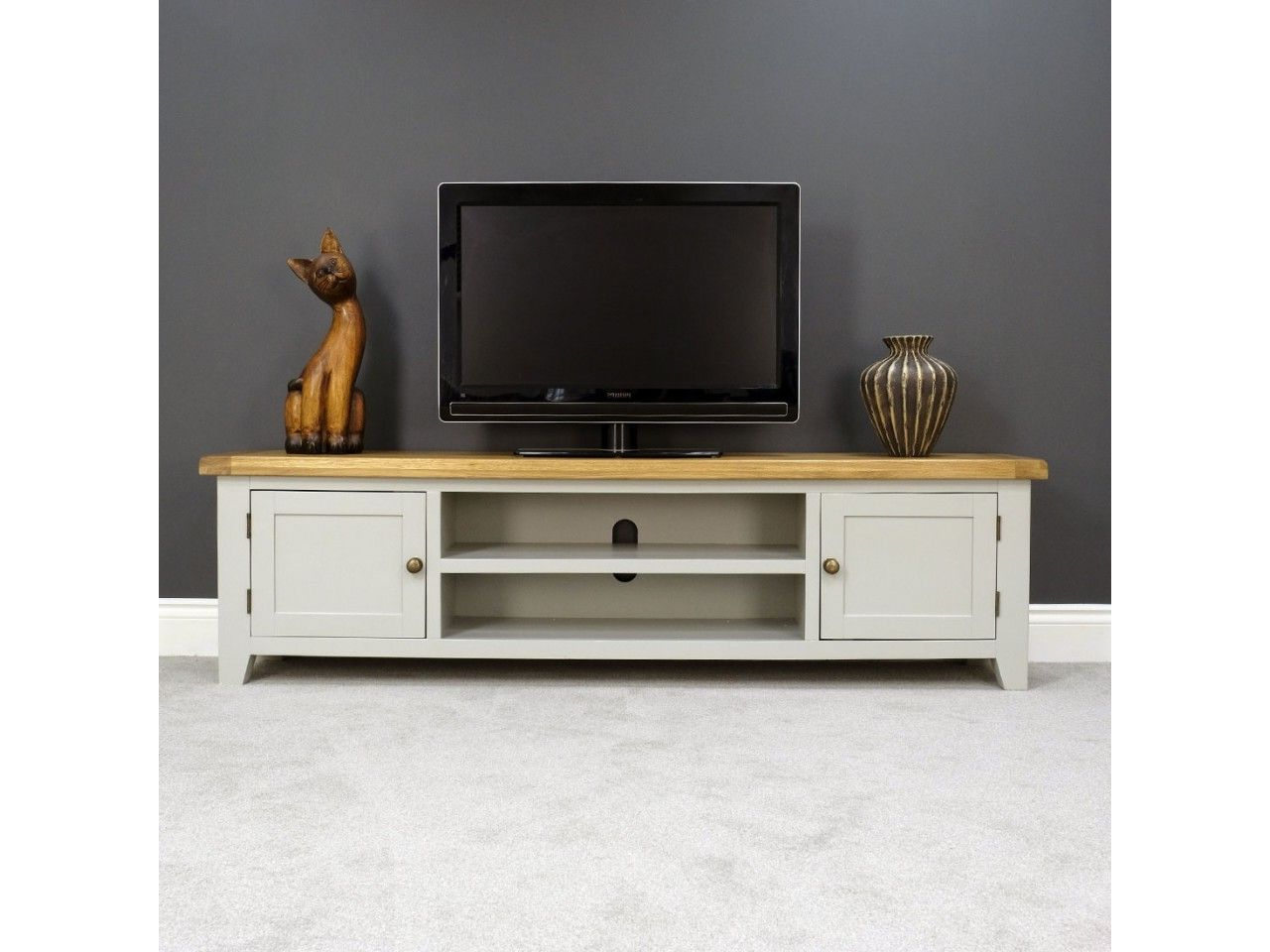 Most Recently Released Dillon Oak Extra Wide Tv Stands Pertaining To Arklow Grey Oak 180cm Extra Large Tv Unit (View 5 of 10)