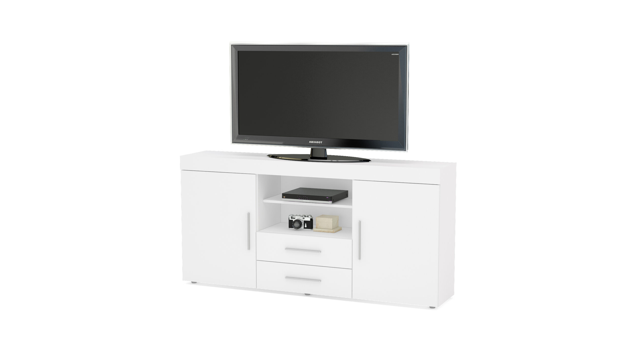 Most Recently Released Edgeware 2 Door 2 Drawer Sideboard White – Niture Uk With Regard To Edgeware Tv Stands (View 25 of 25)
